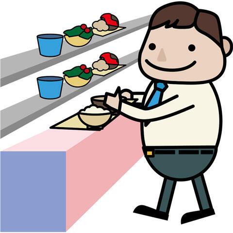 社員食堂で料理を選ぶ男性