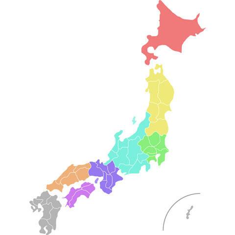 地方ごとに色分けされた日本地図