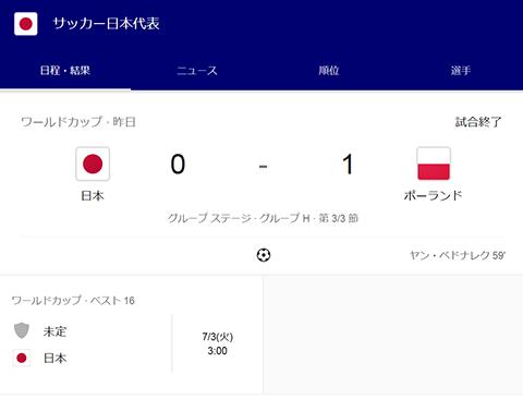 日本代表ポーランド戦