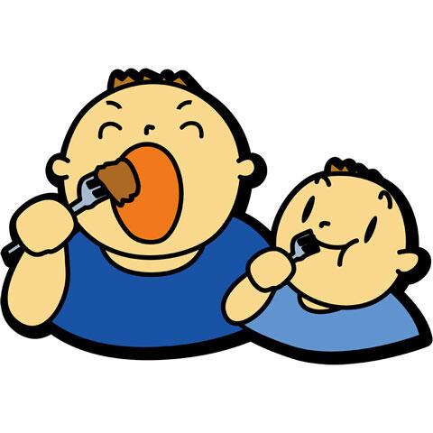 モリモリ食べる親子