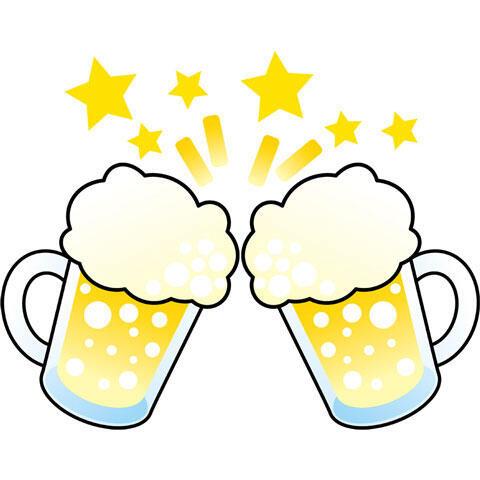 乾杯する生ビール