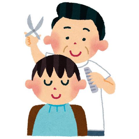 髪を散髪している床屋(理容師)