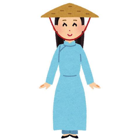 アオザイを着たベトナムの女性