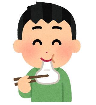 お餅を食べる人