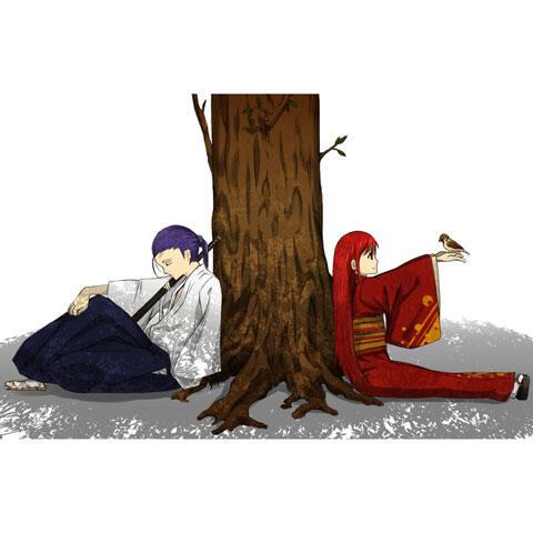 雀を手にのせた少女と眠っている剣士