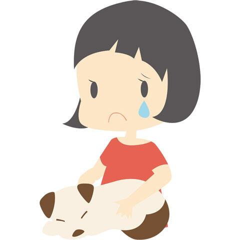 病気の犬と泣いている飼い主