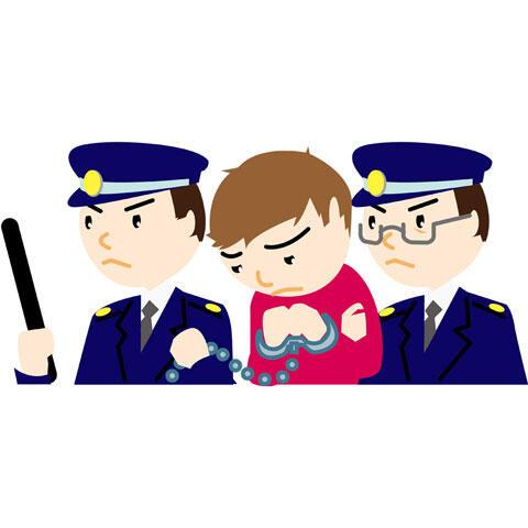 警察に連行される犯人
