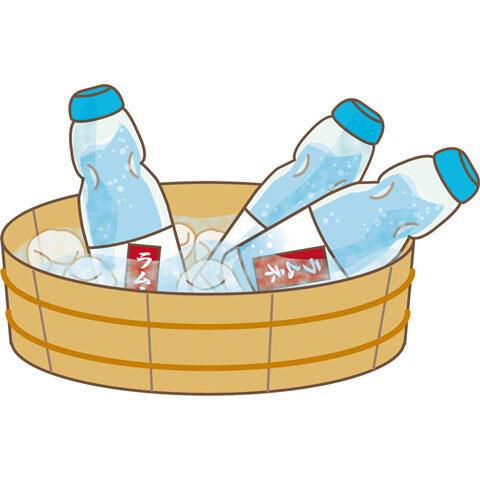桶の中で冷やすラムネ