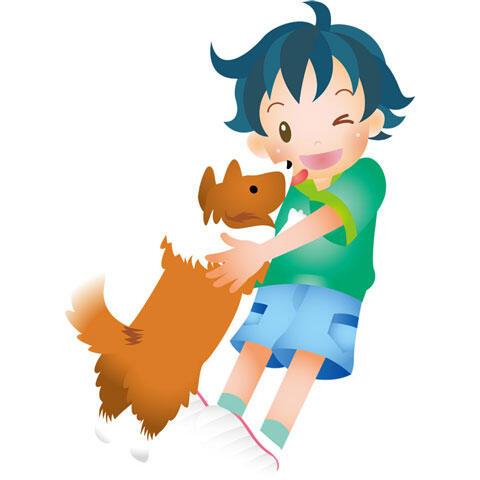 犬と遊ぶ男の子