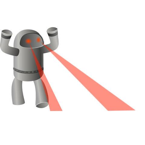目からビームを出すロボット