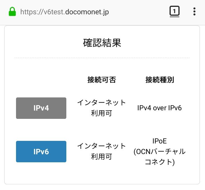 Ipv6 確認 over 方法 Ipv4