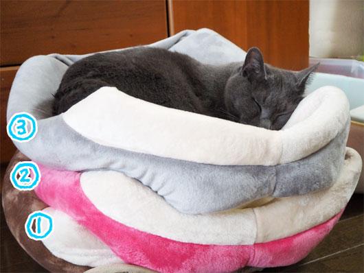 猫ベッド3段重ね