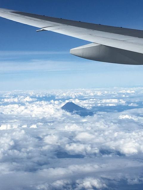 飛行機 富士山