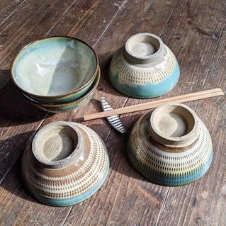小鹿田焼の茶碗