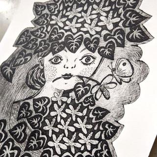 紙版画「ドクダミの花束」