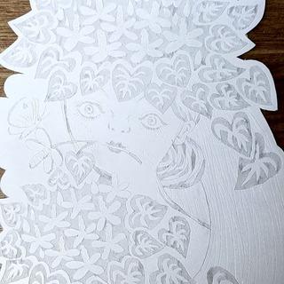 紙版画「ドクダミの花束」版