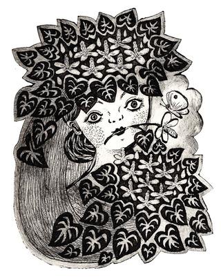紙版画『ドクダミの花束』
