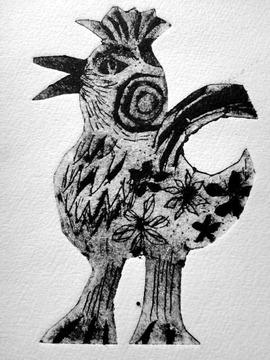 1304紙版画 鳥