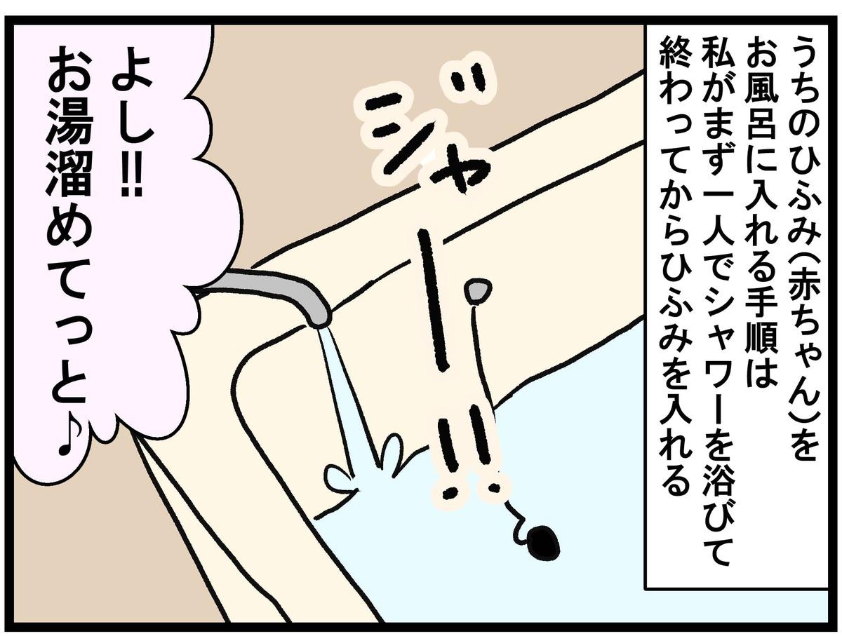 浴槽にお湯をためるねむこ