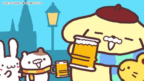 【朗報】ポムポムプリン一族 昼間からビールを飲む