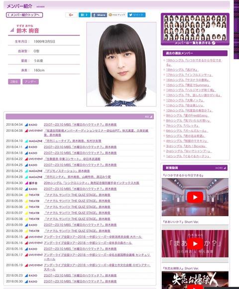 【乃木坂46】鈴木絢音、公式サイトのスケジュールが売れっ子アイドルすぎるwww