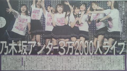 【乃木坂46】乃木坂アンダーが3日間ライブで『3万2000人』を動員!日刊スポーツに大きく掲載!