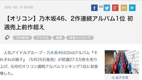 【乃木坂46】2ndアルバム『それぞれの椅子』は初動27.5万枚で前作超え!デイリー4,395枚で再び1位に!