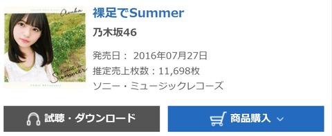 【乃木坂46】15th『裸足でSummer』5週目に11,698枚!累計は797,679枚に!