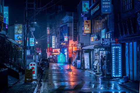 アジア、香港の夜景 (3)