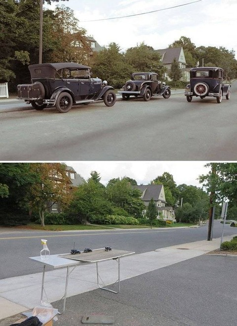 アンティーク車を並べた写真が凄い