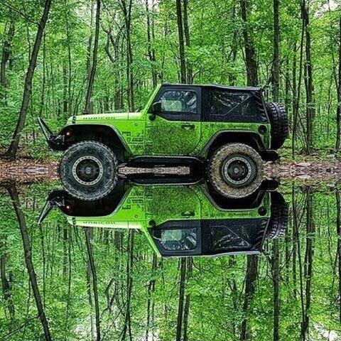 タイヤがちょうど半分水没した