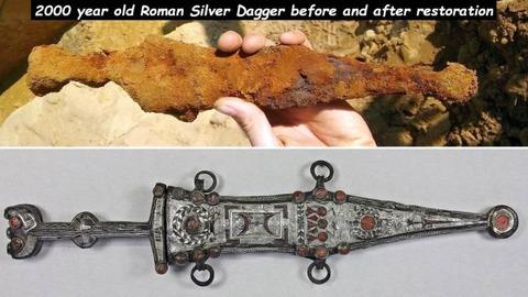 海底で見つけた2000年前のダガーを修復してみました。