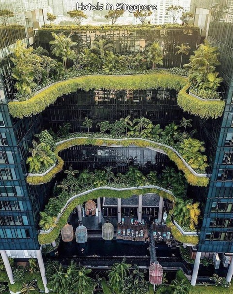 シンガポールの植物ホテルのバルコニーが凄い
