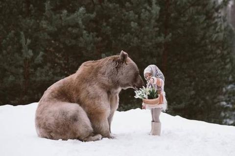 クマに花を送る少女
