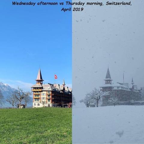 スイスの昨日の昼と今日の朝