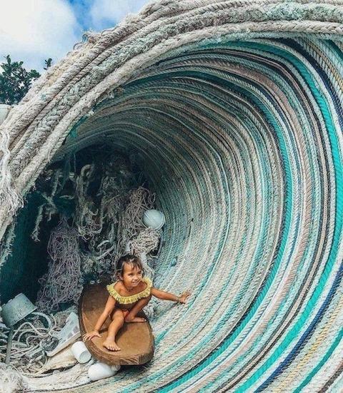 ロープで作ったパイプライン