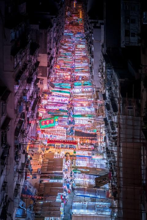 アジア、香港の夜景 (5)