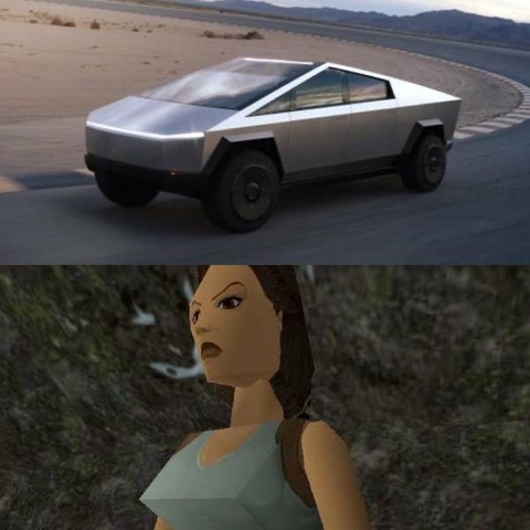 テスラの新型車がポリゴンのララ・クロフトみたい