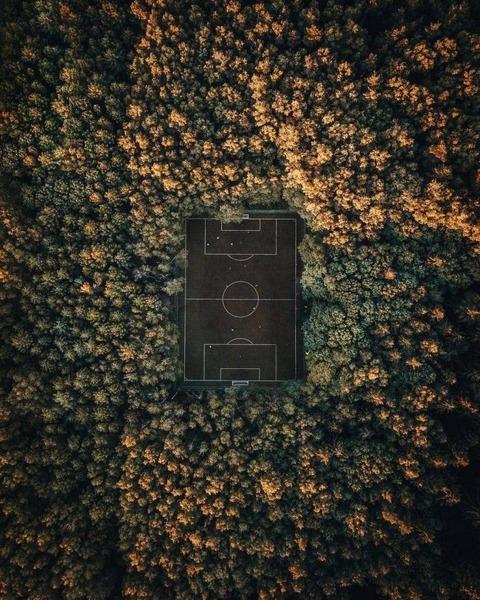 空撮。森の中にあるサッカー場。