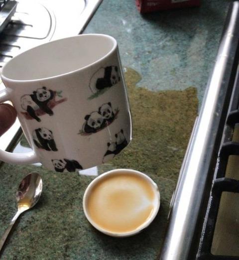 コーヒーカップがこんな風に割れた