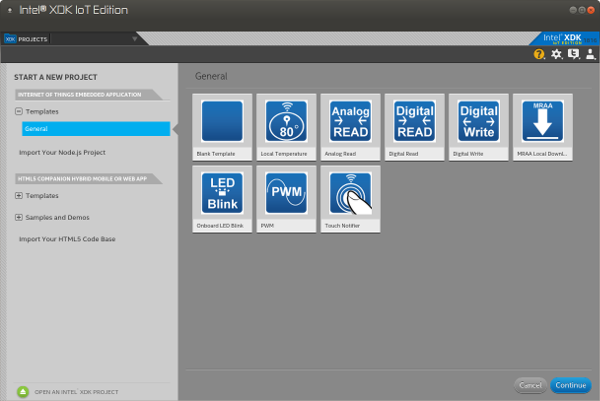 Intel XDK IoT Edition blank template