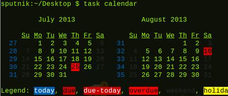 Taskwarrior task calendar