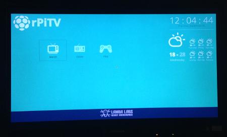 RaspberryPiTV - home screen