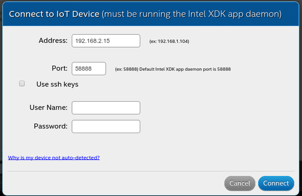 intel xdk  connect iot deivce