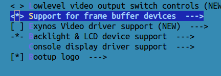 make config support for frame buffer devices