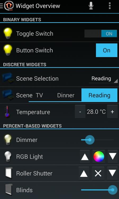 OpenHAB widgets
