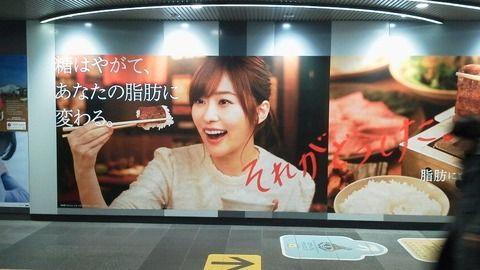 指原莉乃出演「からだすこやか茶W」の広告がいろんな駅にある模様