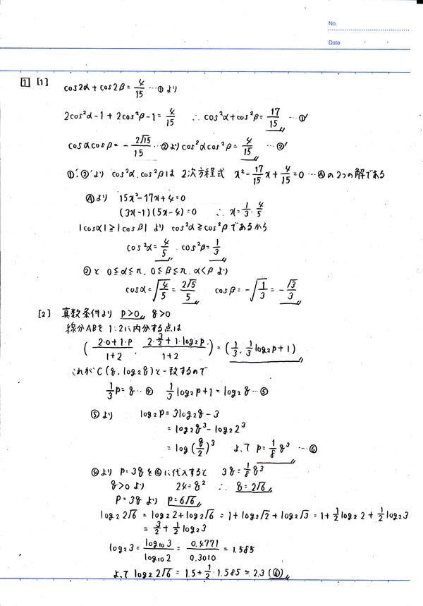 センター試験(2017年)数学ⅡB①