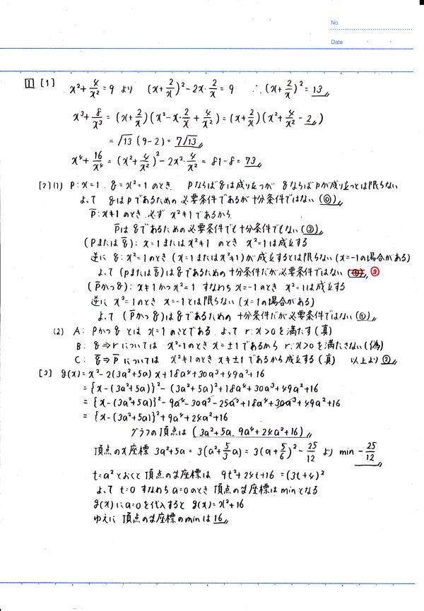 センター試験(2017年)数学ⅠA①