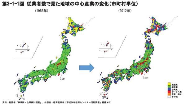 ⑤従業者数で見た地域の中心産業の変化(市町村単位)